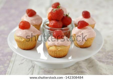 Strawberry Cupcakes - stock photo