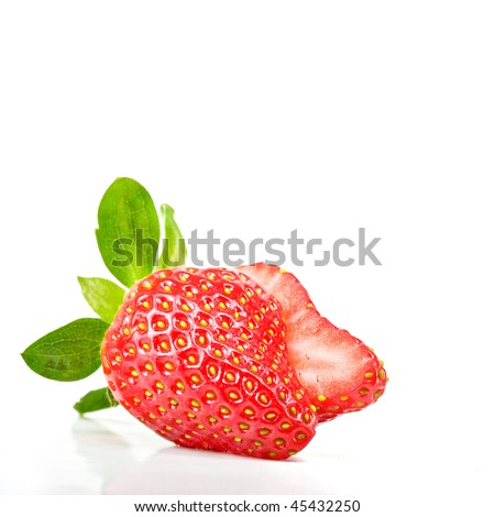 strawberry cut in half isolated on white background - stock photo