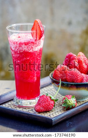 Strawberry daiquiri cocktail served in a cold glass - stock photo