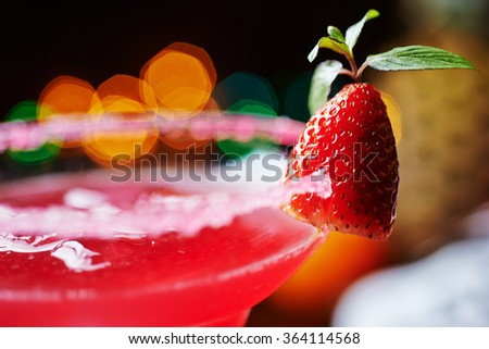 strawberry daiquiri on a table in restaurant. soft focus. - stock photo