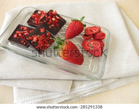 Strawberry dark chocolate - stock photo