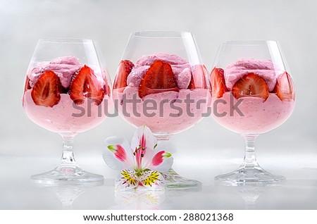 strawberry dessert - stock photo