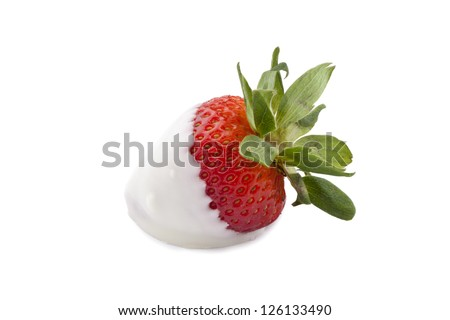 Strawberry dipped in white chocolate isolated in a white background - stock photo