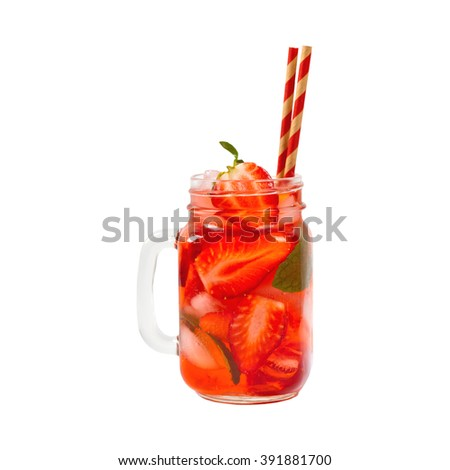 Strawberry Drink, isolated on white background. Selective focus. - stock photo
