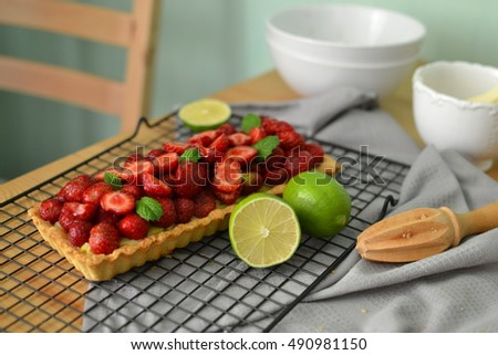 Strawberry French tart or cake with lime