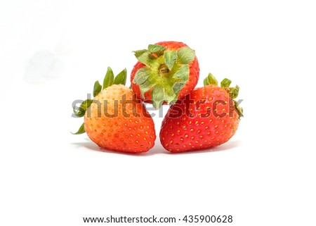 Strawberry fresh ripe juicy red on white background