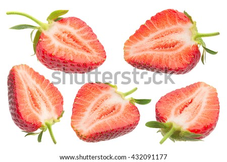Strawberry fruit collection closeup isolated on white background