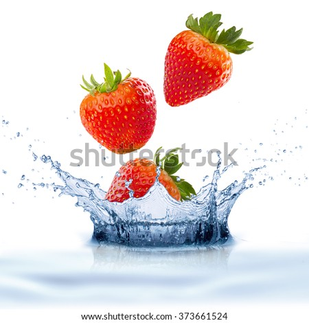 Strawberry Fruit With Water Splash