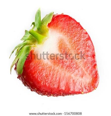 Strawberry. Half isolated on white. - stock photo