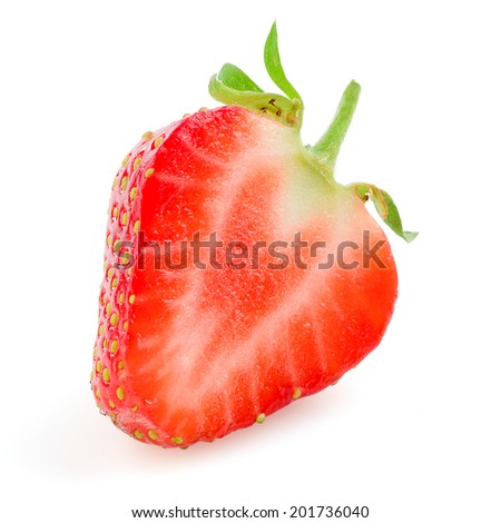 Strawberry. Half of berry isolated on white - stock photo