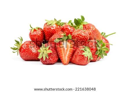 Strawberry heap. Half strawberry. Isolated - stock photo