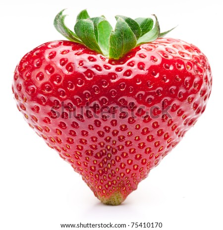 Strawberry heart. Isolated on a white background. - stock photo