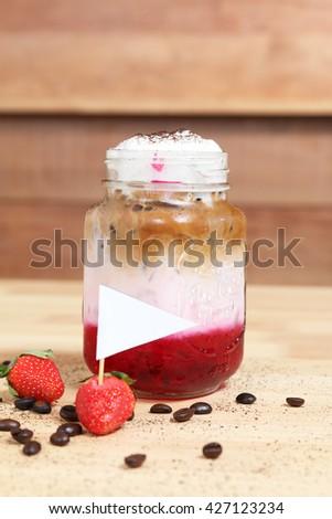 Strawberry ice coffee - stock photo