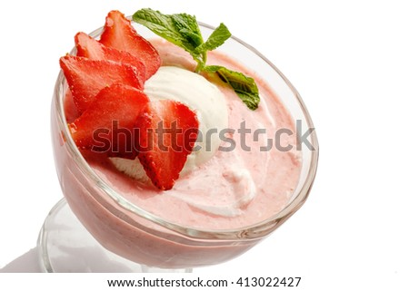 Strawberry ice cream white background