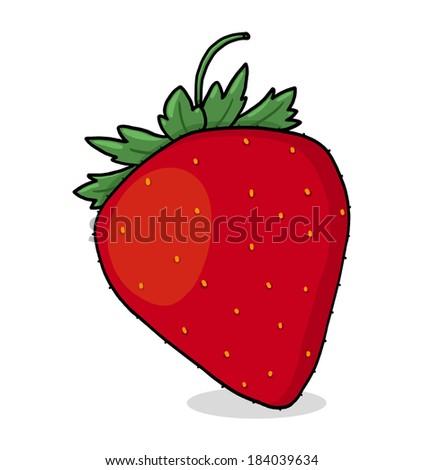 Strawberry Illustration; Isolated Strawberry Drawing - stock photo