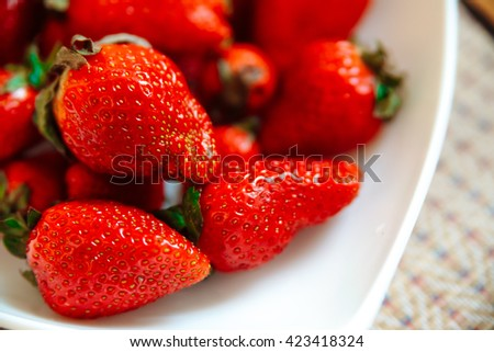 Strawberry in a plate.