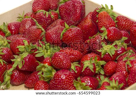 Strawberry in a wooden box