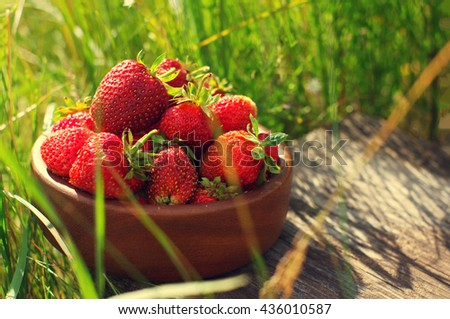 Strawberry in a wooden round plate against a green grass. Fresh juicy berries of strawberry in a grass
