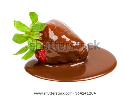 strawberry in chocolate isolated - stock photo