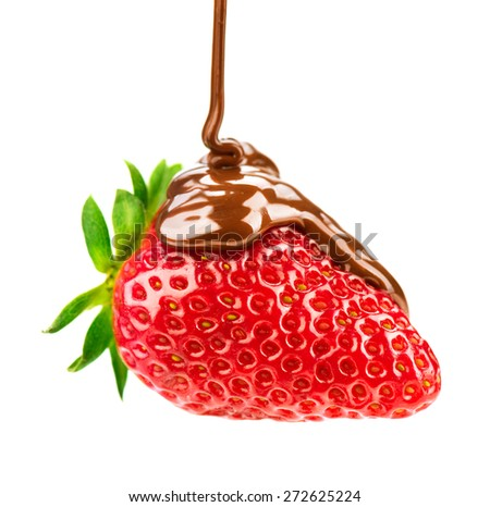 Strawberry in chocolate isolated on white background. Melted Chocolate pouring on fresh ripe juicy strawberry close up. Dessert. Gourmet food. Fondue - stock photo