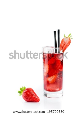 Strawberry in font of cocktail with ice isolated on white background with strawberry on top - stock photo