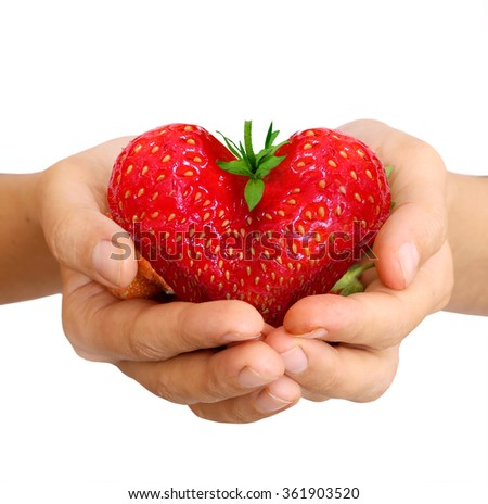 strawberry in shape of a heart - stock photo