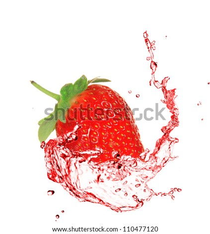 Strawberry in water splash - stock photo
