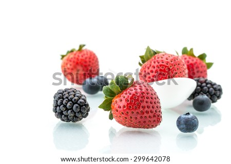 strawberry in white spoon, healthy, natural, diet, mint, Blueberry, blackberry