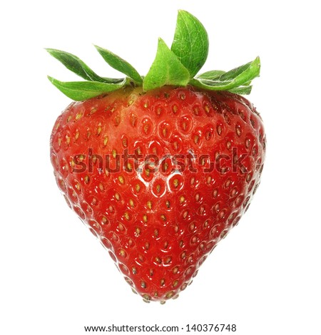 Strawberry. Isolated on white background, large depth of field.