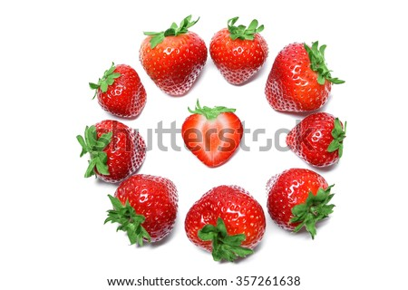 Strawberry isolated on white background top view - stock photo