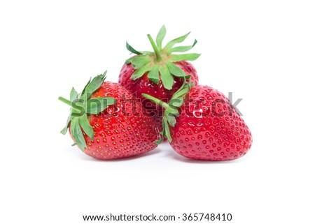 strawberry isolated over white - stock photo