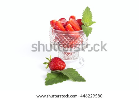 Strawberry isolated over white background with mint