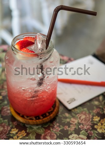 Strawberry italian soda decorate with fresh strawberry.  - stock photo