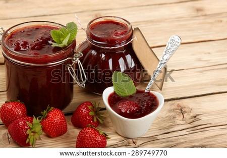 strawberry jam - stock photo