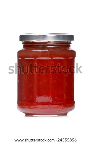 Strawberry jam glass jar reflected on white background - stock photo