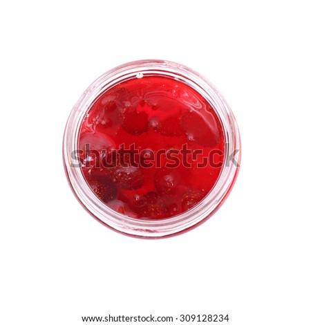 strawberry jam in a jar - stock photo