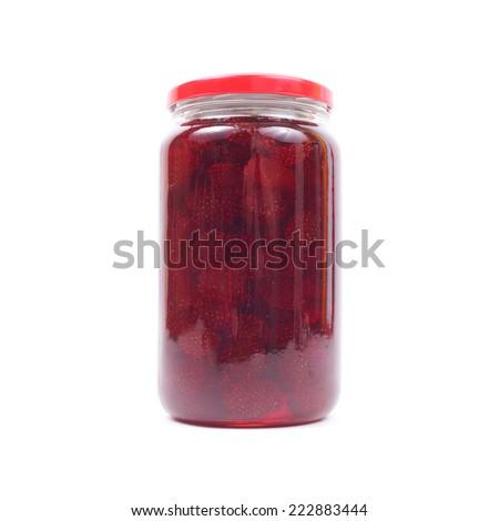 strawberry jam in jar isolated - stock photo