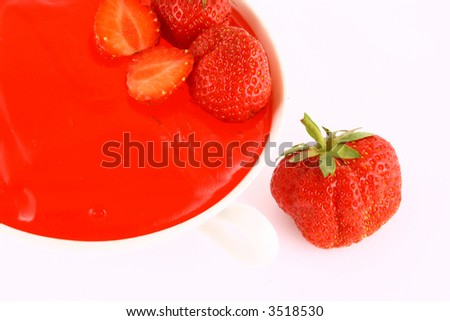 Strawberry Jam on a white background-red strawberry