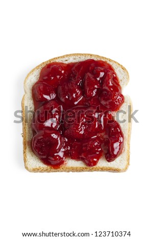 Strawberry Jam sandwich against white background - stock photo