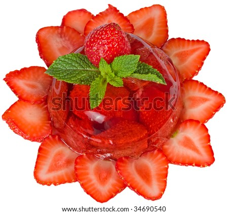Strawberry jelly with fresh berries isolated on white.