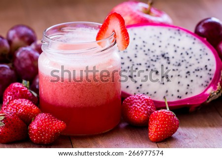 Strawberry juice blend  with mix fruit - stock photo