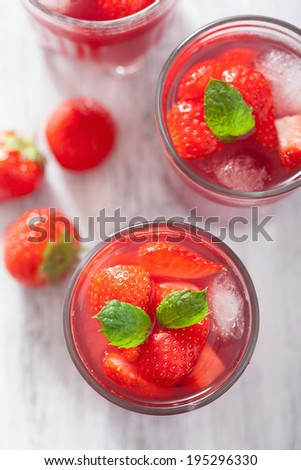 strawberry juice with mint summer drink - stock photo