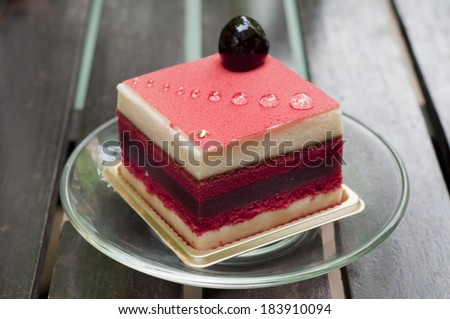 Strawberry layer cake. - stock photo