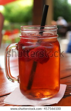 strawberry lemonade in jar