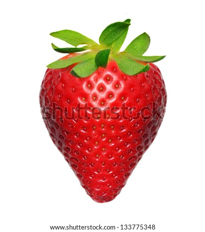 Strawberry macro  isolated on white - stock photo