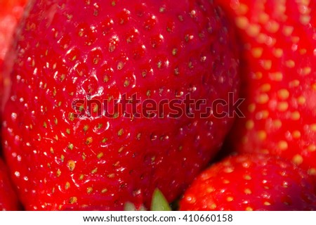 Strawberry macro, strawberries closeup - fruit macro - stock photo
