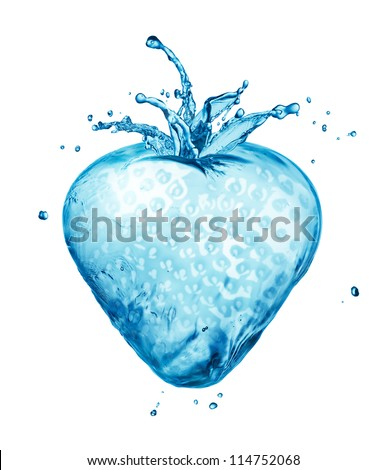 Strawberry made out of water splashes isolated on white - stock photo