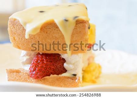 Strawberry meringue Cake - stock photo