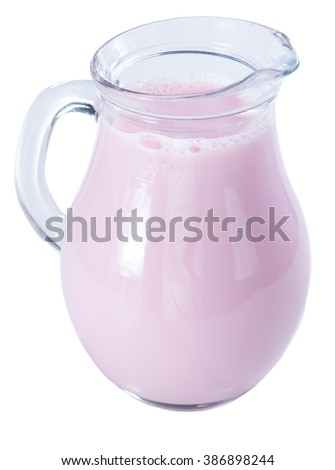 Strawberry Milk (fresh made) isolated on white background - stock photo