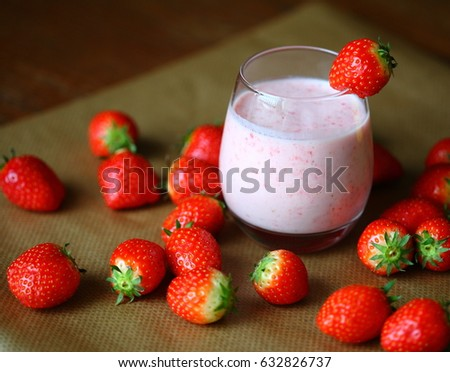 Strawberry milk shake. Strawberry cocktail. Concept of healthy food and good shape